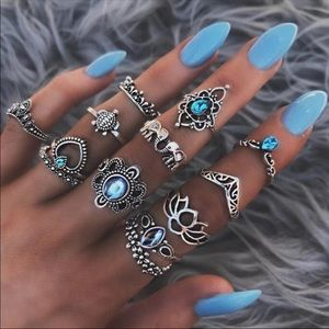 Jewelry - 🎉JUST IN! Boho Midi Ring Set - Elephant/Turtle